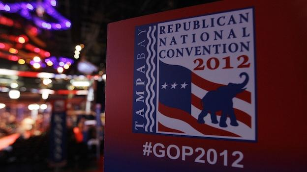 A convention sign is seen on th floor of the Republican National Convention inside of the Tampa Bay Forum in Tampa, Fla., on Sunday, Aug. 26, 2012.