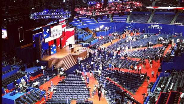On Monday, the floor of the Republican National Convention was almost exclusively inhabited by media.