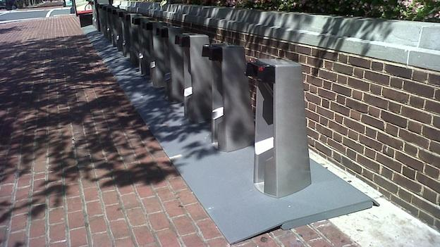 The first Capital Bikeshare station was installed outside Alexandria City Hall. Bicycles will be added after installation at all eight locations is complete.