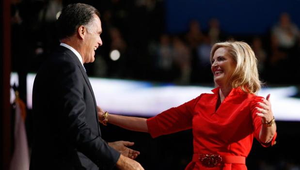 Republican presidential nominee Mitt Romney hugs his wife Ann Romney on stage at the Republican National Convention in Tampa, Fla.