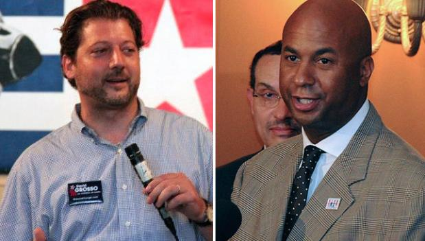The at-large race between challenger David Grosso, left, and incumbent Michael Brown, right, may depend on the results of an official hearing.