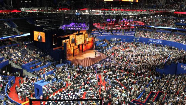 The floor of the Republican National Convention as Ted Cruz spoke to the audience Tuesday night.