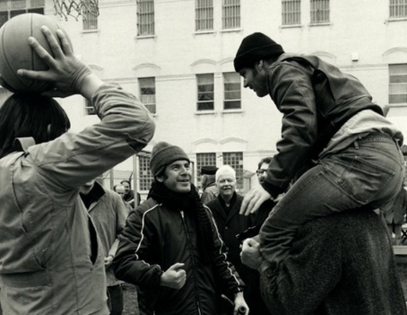 Milos Forman directs Jack Nicholson on the set of One Flew Over the Cuckoo's Nest.