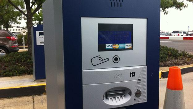 "One of the new ""no-attendant"" parking machines at Reagan National Airport, which were activated this past weekend."