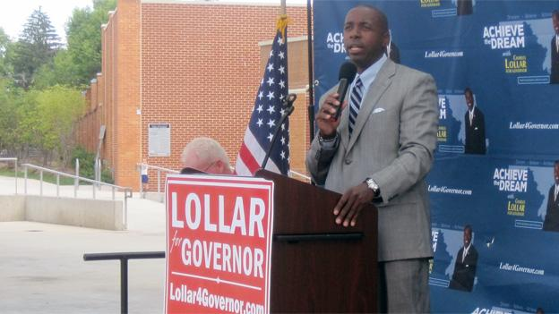 Charles Lollar spoke to a group of supporters in Silver Spring, Md., on Tuesday.