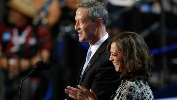 California Attorney General Kamala D. Harris and Maryland Gov. Martin O'Malley speak during the Democratic National Convention in Charlotte, N.C.