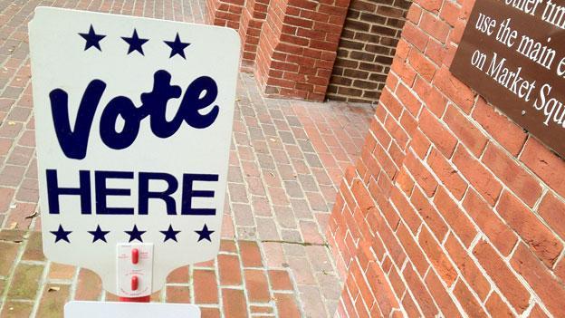 A voting sign in Alexandria, Va.