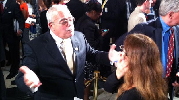 Rep. Gerry Connolly (D-Va.) talks to reporters after the president's address Sept. 8 on Capitol Hill.