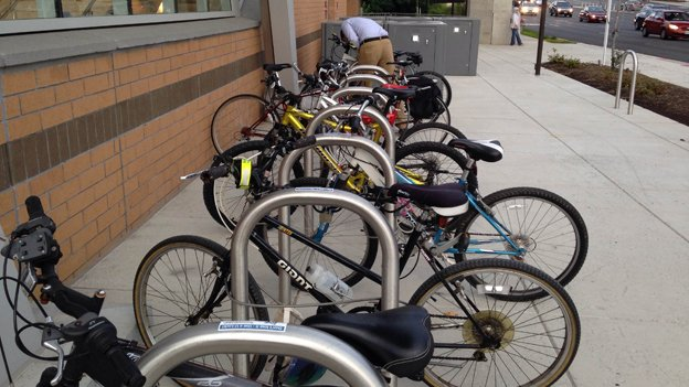 Bike parking is in short supply at the McLean Metro station.