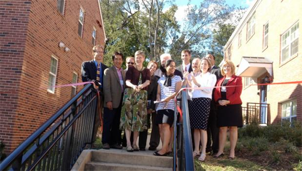 The ribbon was cut at the revamped Buchanan Apartment building on Columbia Pike Monday, which will now serve as low-income housing.