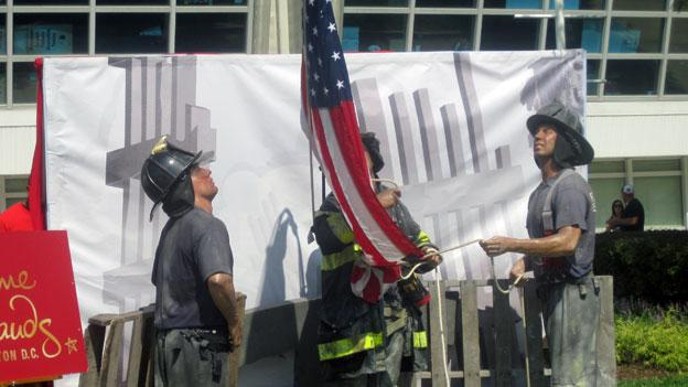 The Madame Tussaud's wax figure scene outside of FedEx Field for the tenth anniversary of Sept. 11.