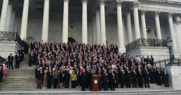 "In a rare moment of unity, both chambers of Congress met on the Capitol steps to sing ""God Bless America"" in honor of the 9/11 fallen."