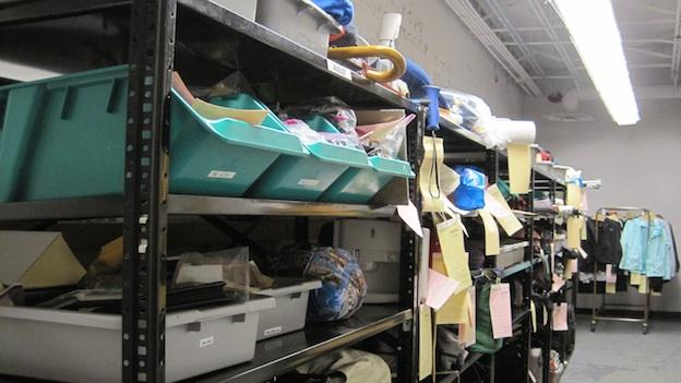 Many missing items turn up in the lost and found at airports and train stations. This is the lost and found room at Reagan National Airport.