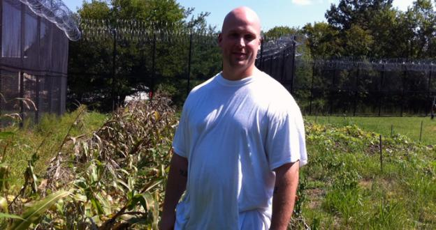 Stephen Hughes at the Howard County Department of Corrections vegetable garden.