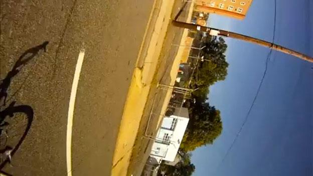 The view from a cyclist Evan Wilder's mounted helmet camera after being run off the road in Northeast D.C. earlier this month.