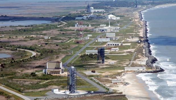 An aerial view of NASA's Wallops Flight facility and Mid-Atlantic Regional Spaceport, from which a local company plans to launch rockets.