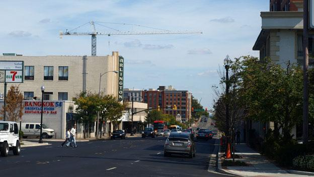 A view down Columbia Pike, where new residential buildings and retail spaces could soon by served by a streetcar line along the busy corridor.