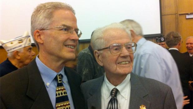 Paul Tilley and his father, WWII veteran William Reese Tilley, 92, came out to the Montgomery County ceremony in honor those residents who served in the war.