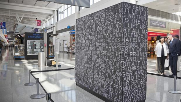 Anil Revri's 'Wall for Peace' asks 'Why can't we all just get along?' at Dulles.