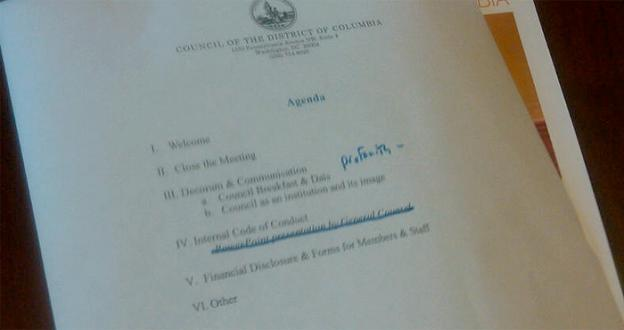 "A copy of the D.C. city council agenda shows that ""profanity"" was on chairman Kwame Brown's mind for the meeting from which he barred reporters."