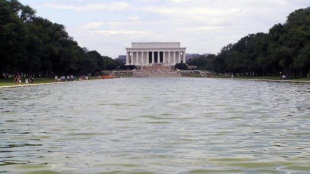The Lincoln Memorial seen from the reflecting pool.