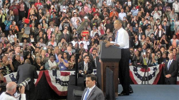 President Barack Obama spoke about the new health insurance exchanges Thursday at Prince George's Community College in Largo, Md.