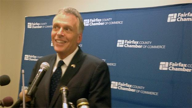 Democratic candidate Terry McAuliffe was endorsed by the Fairfax County Chamber of Commerce.