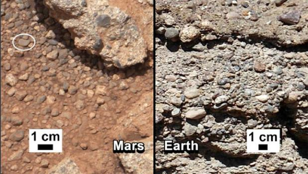 NASA says that water shaped the rocks on the left, in a photograph taken by the Mars rover Curiosity. For comparison, the agency released an image of rocks from the Earth (right).
