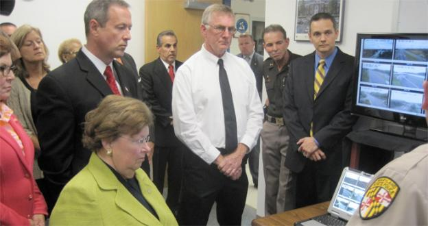Maryland senator Barbara Mikulski and governor Martin O'Malley receive a demonstration of the state's broadband internet network at the La Plata state police barracks in Charles County.
