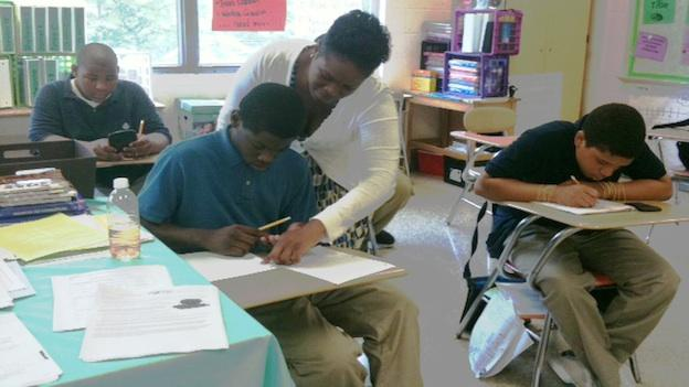 Tiffany Johnson teaches math and reading to students with disabilities at Ron Brown Middle School.