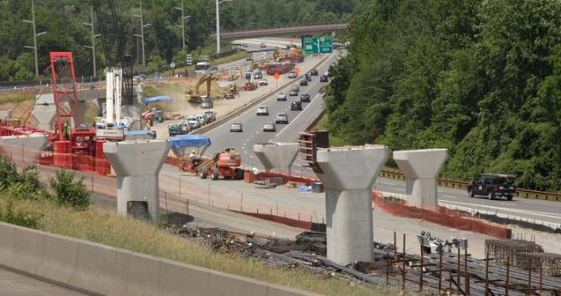 Metro Rail construction from Tyson's Corner to East Falls Church station on Route 267 in Northern Virginia.