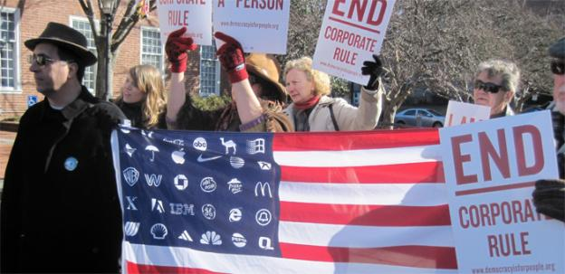 Opponents of the controversial Citizens United decision rally outside the state house in Annapolis, Md.