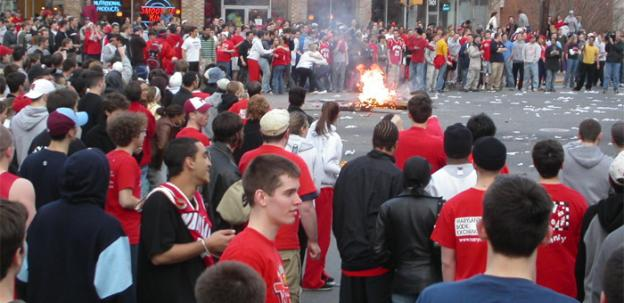 Students riot after a Terps basketball game in 2004 -- school officials are trying to make sure this doesn't happen again.