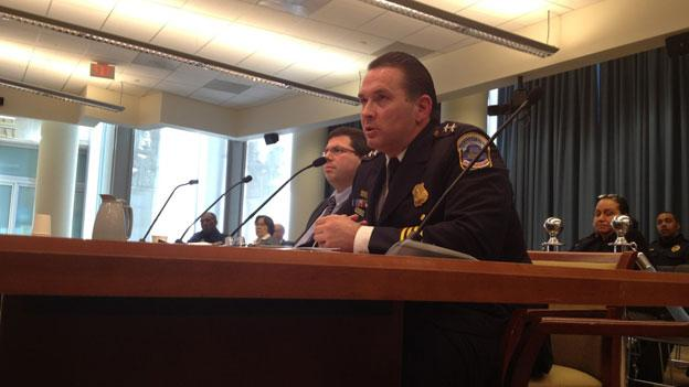 Senior Counselor to the D.C. Attorney General Ariel Levinson-Waldman, left, and Assistant Police Chief Peter Newsham, who testified before the D.C. Council Jan. 24, have significant concerns about the bill to create permanent prostitution-free zones in the District.