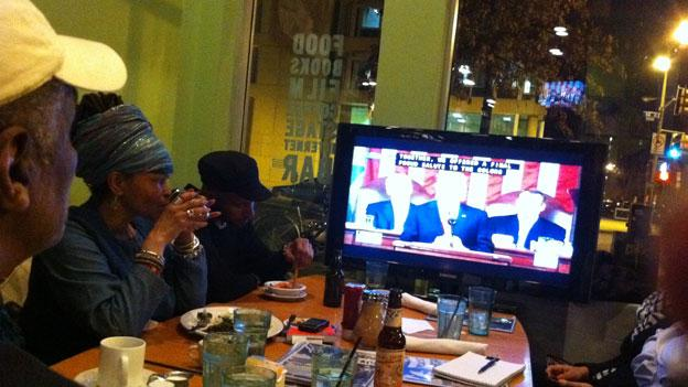 Some D.C. residents gathered at Busboys & Poets in the U Street neighborhood to watch President Obama's State of the Union address last night.
