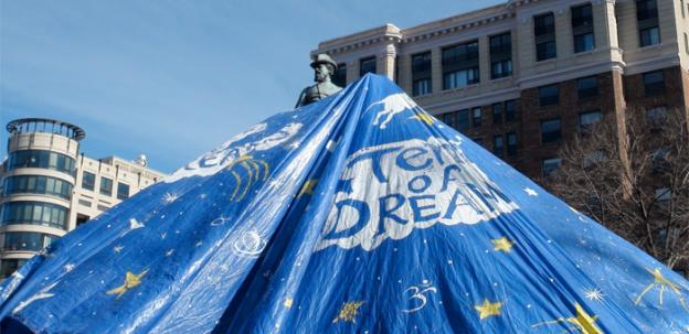 "The ""tent of dreams"" that Occupy DC erected over the statue of General McPherson in McPherson Square Monday."