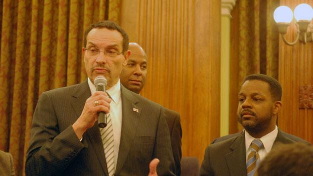 D.C. Mayor Vincent Gray, center, and Council Chair Kwame Brown, right, in the council chambers last week. Brown is advocating for the District to combine a special election for Harry Thomas Jr.'s seat with the District's primaries April 3.