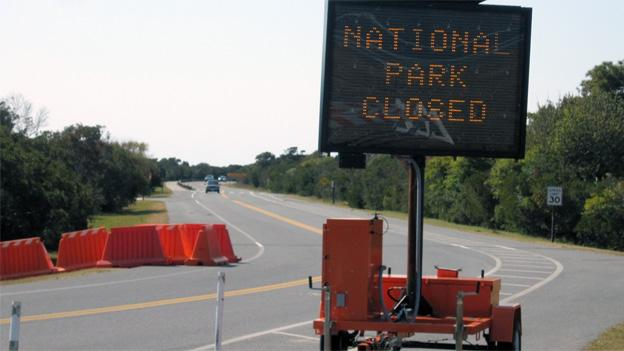 Many would-be park-goers near Assateague Island were turned away Tuesday.