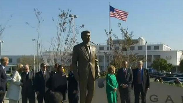 A number of officials and former Reagan Administration colleagues attended the dedication of the statue of the President Ronald Reagan at Reagan National Airport Nov. 1