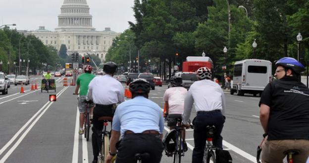 A devoted group of cyclists in D.C. bikes to and from work to avoid the heavily-congested roads during rush hour.