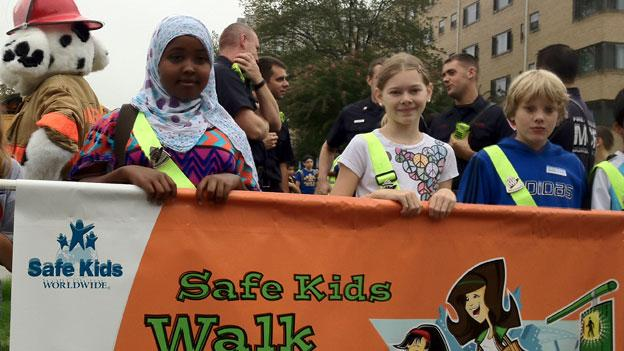 Kids gather as part of International Walk to School Day outside Piney Branch Elementary School in Takoma Park Oct. 3.