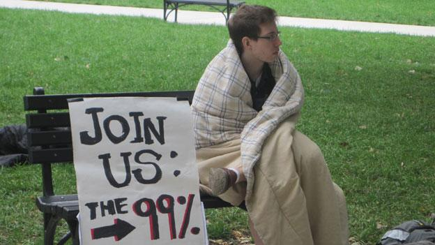 One protester braves the cold in McPherson Square as part of Occupy DC Monday.