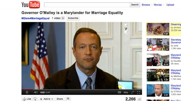 Maryland Gov. Martin O'Malley talks about his support for same-sex marriage in a video released by Marylanders for Marriage Equality released last week.