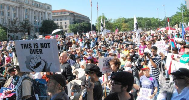 The Occupy DC protesters gathered in Freedom Plaza before marching to the White House and U.S. Chamber of Commerce on October 6, 2011.