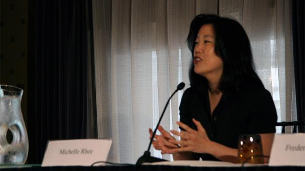 Former DCPS Chancellor Michelle Rhee speaking about innovative education models in 2009.