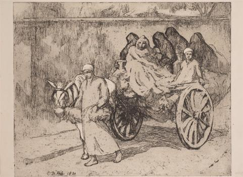 Ellen Day Hale, Milk Delivery, Cairo, 1930, Soft-ground etching with aquatint on paper, 7 7/8 x 9 ¾ in., Gift of Wallace and Wilhelmina Holladay, National Museum of Women in the Arts.