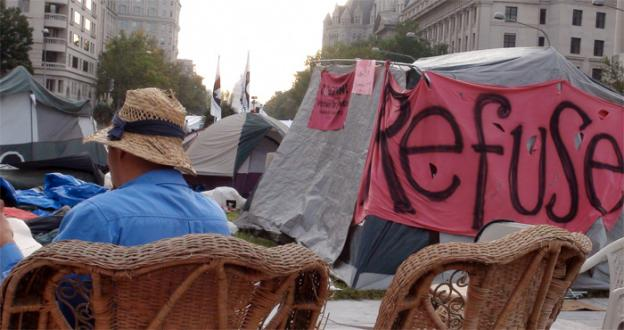 Protesters have occupied Freedom Plaza for four days as part of the Stop the Machine demonstration coinciding with the 10-year anniversary of the invasion of Afghanistan. They may face arrest later today when their permit expires.