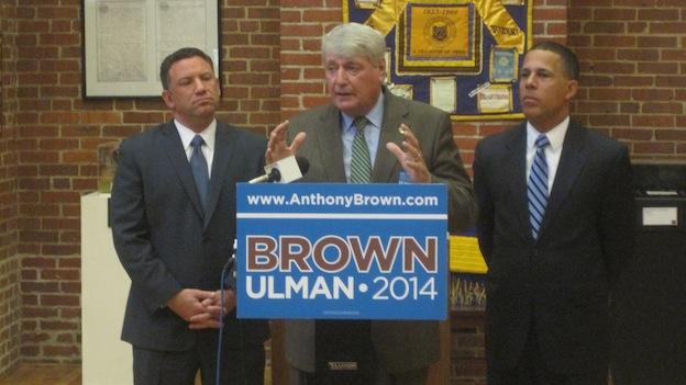 Maryland House Speaker Mike Busch endorsing the Brown-Ulman ticket.  Kenneth Ulman is on the left, Anthony Brown on the right.