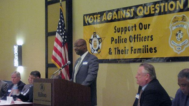 Labor leaders gathered in Gaithersburg October 10 to rally opposition to Question B. The Fraternal Order of Police is calling for people to vote no on Montgomery County's ballot question B.