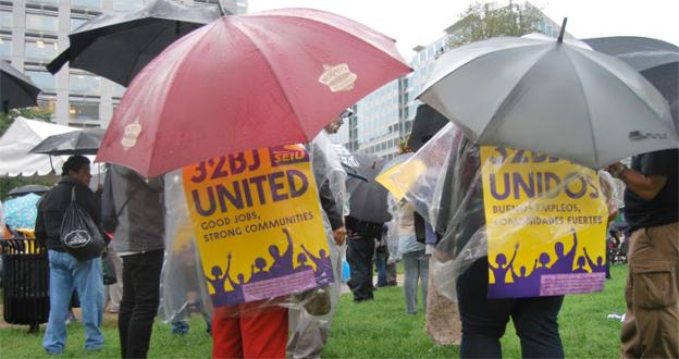 More than one hundred office cleaners rallied in downtown D.C. on Wednesday, as the prospect of a strike looms on the horizon.